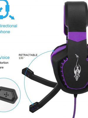 Audifonos Diadema Gamer Led morado